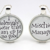 Harry Potter 'Mischief Managed' & 'I Solemnly Swear' Pair of Necklaces