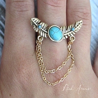 Chain Feather Ring (Turquoise)
