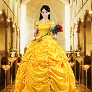 Beauty and the Beast movie 2017 Elegant Belle Ladies Costume hwd  SQ12017