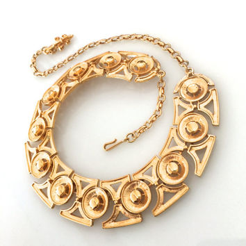 Vendome Gold Tone Necklace/Bib, Signed Coro & Vendome,  Textured and Polished Metal, Wedding Jewelry, Special Occasion