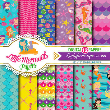 Little Mermaid Papers, Digital paper pack,nautical, starfish, fish, pink, purple, chevron, sea underwater, princess, Commercial-Personal Use