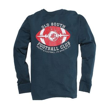 Exclusive Preppy and Football Long Sleeve Tee in Reflecting Pond Navy by Southern Proper - FINAL SALE