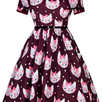 Retro Cat Print Amelia Dress