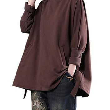 Women's Coffee Cotton Tops T-Shirt Blouses Long Sleeve Casual Loose Fitting Plus Size