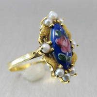 Antique Enamel Pearl Ring, Hand Painted Flowers, 18K Yellow Gold, Seed Pearls, Size 7 Blue Enamel Pink Flowers Marquis