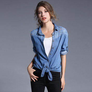 Spring Woman Denim Blouse 2017 New Lace Patch Female Casual Jeans Shirt Woman Top Wears