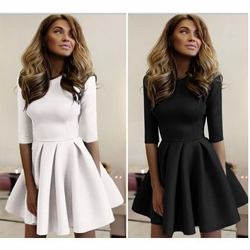 2018 Womens Party Cocktail Mini Dress Ladies Winter Long Sleeve Skater Dresses