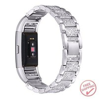 Fitbit Charge 2 Bands Bracelet Stainless Steel Rhinestone Adjustable Wristband