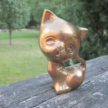 Vintage Mid Century Little Brass Big Eye Cat--Sassy Kitty--Sad Pity Kitty Paperweight--Mod Office Decor--Feline-Cat Collector--