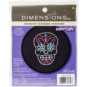"3"" Round 11 Count Learn-A-Craft Sweet Sugar Skull Counted Cross Stitch Kit"