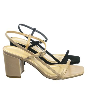Forever07  Open Square Toe Block Heel Sandal - Womens Wrap Around Ankle Strap