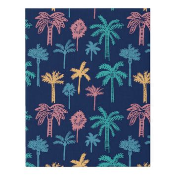 Palm Tree Leaves Pattern Faux Canvas Print