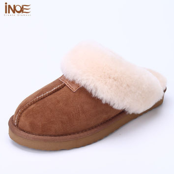 Real sheepskin leather fur lined women home shoes winter slippers for indoor shoes half slippers brown 34-46
