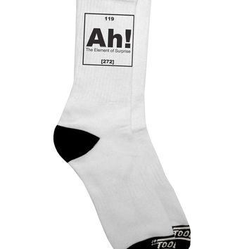 Ah the Element of Surprise Funny Science Adult Crew Socks  by TooLoud