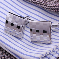 Square Engraving Cufflink Men's Groom Shirt Cufflinks Checked Wedding Cuff Links