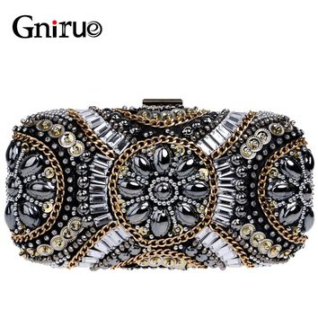 2018 New High Quality Crystal Beading Diamonds Evening Clutch Bag Luxury Designer Party Wedding Women Wallet Handbags and Purses
