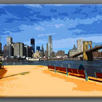 Abstract Brooklyn park New York city painting style  art canvas work, Large size 24x58
