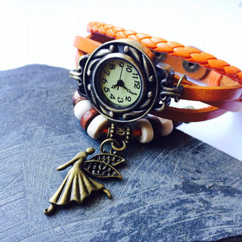 Leather Bracelet Watch Wrap wristband guardian angel gift