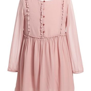 Girl's Burberry 'Sandra' Long Sleeve Silk Dress,