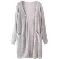 grey open frint knit cardigan
