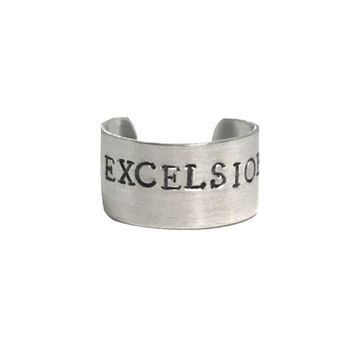 Excelsior! Hand Stamped Stan Lee Aluminum Cuff Ring