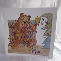 Woodlland Bears Square Christmas Greeting card, Maddy in a tangle