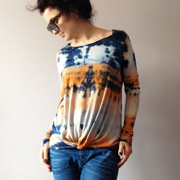 Tie Dye Multicolor Womens Top Hand Dyed Orange Indigo Ombre Ivory Blouse Ladies Fashion T-shirt Dip Dye Apparel One Of A Kind Shibori Outfit