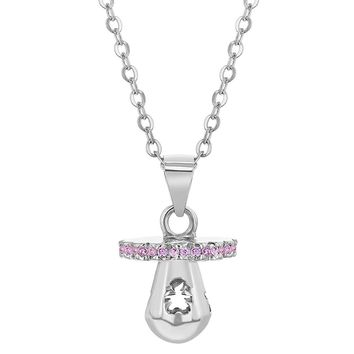 925 Sterling Silver Pacifier Charm New Mom Pink Cubic Zirconia Necklace for Women 18""