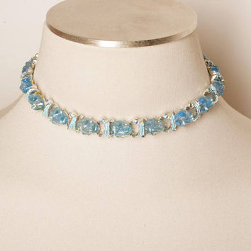 Vintage 1950s Blue Necklace with Rhinestone Accents