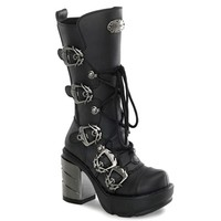 Demonia SINISTER-203 5-Buckle Gothic Platform Boots - Demonia Shoes at SinisterSoles.com