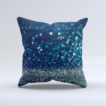 The Navy and Gold Unfocused Sparkles of Light ink-Fuzed Decorative Throw Pillow