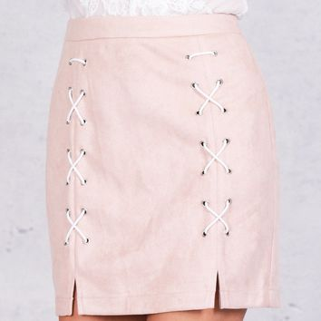 Women's Lace Up Leather Suede Pencil Skirt