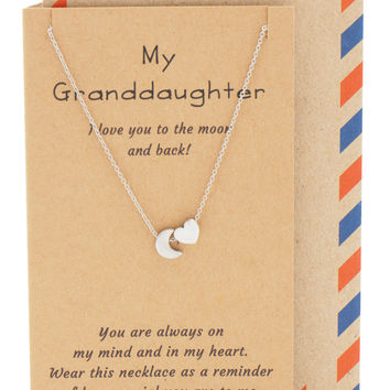 Vera I Love You to the Moon and Back Heart Charm Necklace