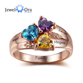 Rose Gold Personalized Birthstone Ring