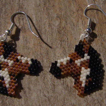 Painted Ponys Earrings Hand Made Seed Beaded Native Inspired