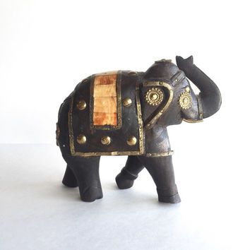 Vintage Eclectic Wood Brass and Bone Elephant