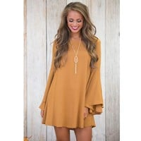 Trumpet Long Sleeve Loose V-Neck Tie Backless Dress Solid Color +Gift Necklace