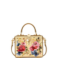 Dolce & Gabbana Dolce Box Medium Mirror Crystal Shoulder Bag, Gold