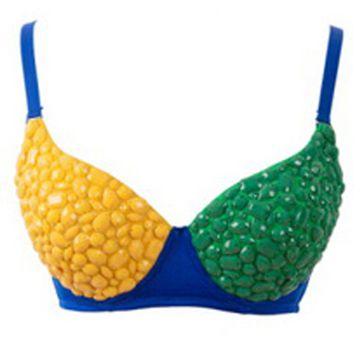Atomic Studded Gem Brazil Flag Rave Bra