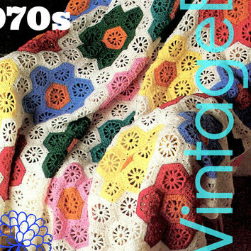 Digital Pattern • EASY Afghan Crochet Pattern • Flower Garden Afghan • Retro • Patchwork Octagon Hexagon • Boho • Vintage • INSTANT DOWNlOAD