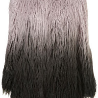 Ombre Faux Mongolian Fur Coat - Coats  - Apparel