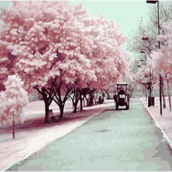 New diy oil painting Pink cherry blossom tree color by numbers