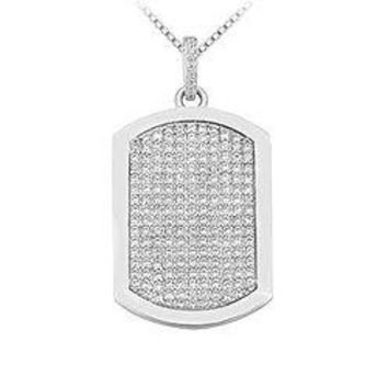 Diamond Dog-tag Pendant : 14K White Gold - 4.00 CT Diamonds
