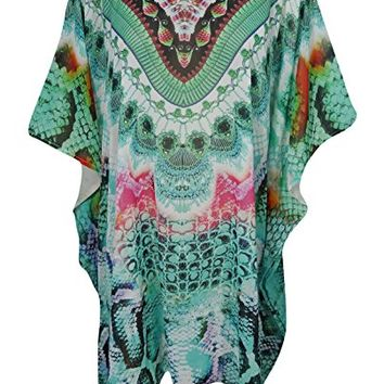 Mogul Interior Women's Sofia Caftan Short Dress Beach Bikini Cover Up Summer Spring Fling With Neck Jewels One Size