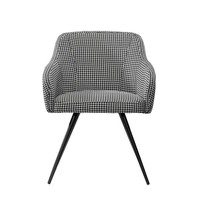 Black and White Upholstered Mid-Century Low Back Armchair Steel Legs
