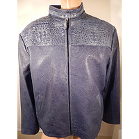G Gator - Blue Horn Back Crocodile and Lamb Skin Jacket