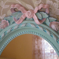 Vintage Homco Oval Wall Mirror Aqua Pink Roses & Bow Hand Painted Frame
