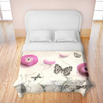 Duvet Covers Premium Woven Twin, Queen, King from DiaNoche Designs by Monika Strigel Unique, Cool, Fun, Funky, Artistic, Designer, Stylish Home Decor and Bedroom Ideas - Vintage Butterfly