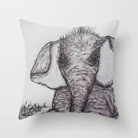 An Adorable Baby Elephant Throw Pillow by  RokinRonda