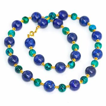 Regenz Brand Chrysocolla and Lapiz Lazuli Beaded Necklace with 14K Gold, Green and Blue Beauty!